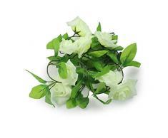 niceeshop(TM) Liane de Roses Artificielle Suspendue pour Décorer le Jardin Ou la Maison, Fleur en Couleur Verte Claire et Feuilles Vertes Foncées