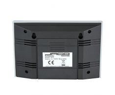 Jago - Réveil digital de couleur argentée - répétition d'alarme - retroéclairage LED bleu - température, date, jour de la semaine