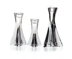 """Set 3 chandelier, Bougeoir,3 bougies, cristal, Collection """"TRITON"""", 13, 16 et 19 cm, photophore, transparent (GERMAN CRISTAL powered by CRISTALICA)"""