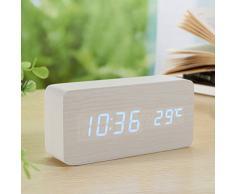 Yihya Blanc Design à la Mode Digital Alarme LED Snooze Horloge Réveil électronique Clock Date Température Affichage avec Sound Control Capteur de Lumière + Veilleuse (Ajuster automatiquement la luminosité la nuit) --- bleu clair