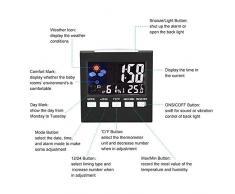 niceEshop(TM) Réveil Digital avec Activation Sonore et LCD Affichage de Température et Humidité (Noir)