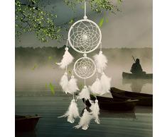 niceEshop(TM) 2 Cercles Capteur de Rêves avec Ornements Plumes, Turquoises pour Voiture et la Décoration de Maison (Blanc)