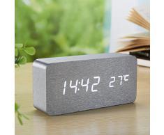 Yihya Argent Design à la Mode Digital Alarme LED Snooze Horloge Réveil électronique Clock Date Température Affichage avec Sound Control Capteur de Lumière + Veilleuse (Ajuster automatiquement la luminosité la nuit) --- lumière blanche