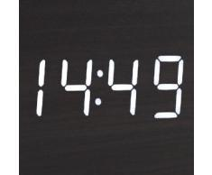 kwmobile Horloge digitale réveil triangulaire - Alarme aspect bois noir - Activation sonore et tactile date heure température - Affichage LED blanc