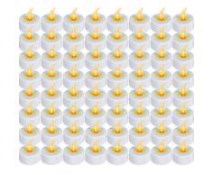 Set de 64 bougies LED sans flammes - BLANC - Ø 3,8 cm - H 4,4 cm - électrique - DIVERS SETS AU CHOIX
