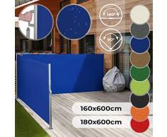 Store Latéral Rétractable - Taille 160x600 ou 180x600 cm et Couleur au Choix, Enroulable, Protection UV, pour Terrasse, Jardin, Balcon - Paravent, Brise Vue Extérieur, Double