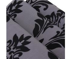 Sonline Chemin de Table en Tissu Floque Decoration de Mariage Damas 78 x13 pouces Gris Fonce