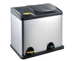 MSV 100450 Poubelle tri selectif INOX 18l + 8l, Polypropylène, Noir, 33 cm