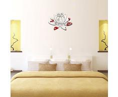 Ufengke® 3D Lotus Fleur Effet De Miroir Stickers Muraux Design À La Mode Art De Décalque Décoration De La Maison Argent