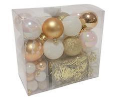 Lot déco Noël - Kit 44 pièces pour décoration sapin : Guirlandes, Boules et Cimier - Thème couleur : Blanc et OR