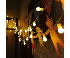 Uping Guirlande Lumineuse Boule LED 12m 100 Ampoules avec Prise EU 8 Modes de Fonctionnement Décoration Halloween/Noël/Jardin/Cérémonie Intérieur et Extérieur(Blanche chaude)