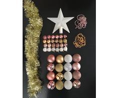 Lot déco Noël - Kit 44 pièces pour décoration sapin : Guirlandes, Boules et Cimier - Thème couleur : Blanc, Rose Clair et Or
