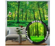 Affiche arbres - mur decoration paysage naturel pure plante fleur foret relaxants avec trop de soleil | mur deco Poster mural Image by GREAT ART (140 x 100 cm)