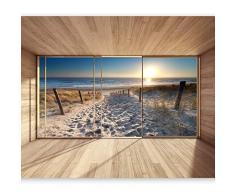 murando Papier peint intissé 350x256 cm Décoration Murale XXL Poster Tableaux Muraux Tapisserie Photo Trompe loeil Nature paysage Plage 3D Mer Soleil c-C-0067-a-b