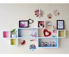 ufengke® 12 Pcs 3D Fleurs Stickers Muraux Design de Mode Bricolage Fleurs Art Autocollants Artisanat Décoration de La Maison, Effet Miroir