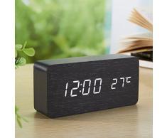 Yihya Noir Design à la Mode Digital Alarme LED Snooze Horloge Réveil électronique Clock Date Température Affichage avec Sound Control Capteur de Lumière + Veilleuse (Ajuster automatiquement la luminosité la nuit) --- lumière blanche