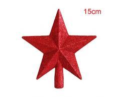 Putuio Cimier de Sapin de Noël, étoile pour Sommet de Sapin de Noël, Pentagramme, décoration pour la Maison, Red, 15 cm
