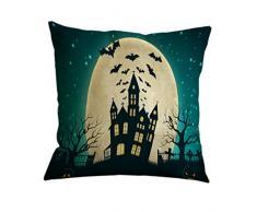 Nunubee Décoration et Cadeau d'Halloween Housse de Coussin Carré Taie d'oreiller Linge de Coton 45 x 45 cm, Chauve-Souris