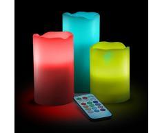 3 Bougies en Cire véritable - LED à Piles, Flamme Vacillante - Multi couleurs - Hauteur : 15cm, 12,5cm et 10cm
