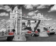 1art1 54168 Poster Londres Tower Bridge Bus Rouges 91 x 61 cm
