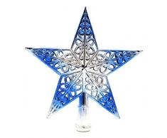 Y-BOA Cimier Noël Étoile Suspendu Pailleté Décoration Etoile Sommet Pointe Sapin Arbre Cour Noël Bleu 20 * 20cm