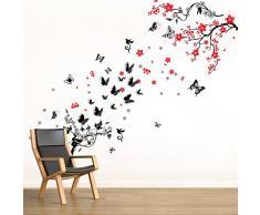 Walplus Autocollant Mural Fleur Vigne Noir 3D Papillon Amovible Art Décalques Vinyle Maison Décoration DIY Vivant Chambre Bureau Papier Peint DEnfants Cadeau, Multicolore