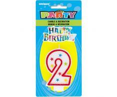 Unique Party - 37312 - Bougie à Paillettes dAnniversaire Numéro 2 et Décoration pour Gâteau - Happy Birthday
