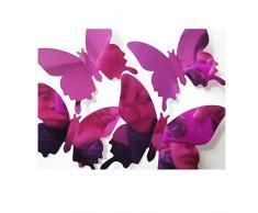 Ufengke® 12 Pièces 3D Miroir Papillons Stickers Muraux Design De Mode Bricolage Papillon Art Autocollants Artisanat Décoration De La Maison, Violet