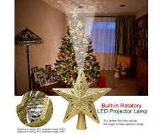 Hinmay Cimier de Sapin de Noël Lumineux avec étoiles Scintillantes et rotatives avec projecteur de Flocon de Neige LED pour décoration de Noël