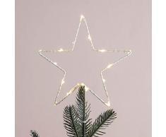 Cimier de Sapin de Noël Etoile Lumineuse avec Micro LED Blanc Chaud à Piles par Lights4fun