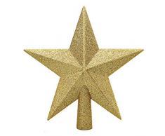 Aneco Cimier de sapin de Noël à paillettes incassable Décoration de sapin de Noël pour décoration de vacances ou de maison 4 Inches doré