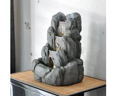 ZenLight Rocky Fontaine dIntérieur, Résine, Gris, 24 x 21 x 34 cm