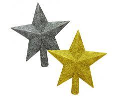1 Décoration de Noël - Cimier de sapin de Noël étoile - dorée ou argentée en pailletée