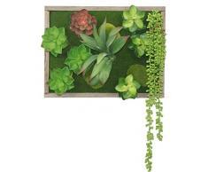 PEGANE Tableau végétal Mural avec Plantes Grasses et Cadre Bois - 40x30cm