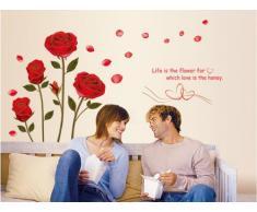 ufengke® Rose Rouge Romantique Fleurs Stickers Muraux, Salle de Séjour Chambre à Coucher Autocollants Amovibles