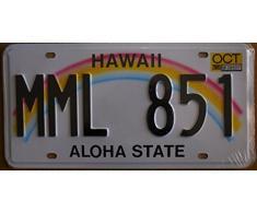 Fabbri Plaque d'immatriculation américaine, 31 x 16 cm, motif Hawaii