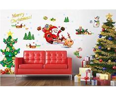 """ufengke® """"Joyeux Noël"""" Père Noël et Arbre de Noël Stickers Muraux, Salle de Séjour Chambre à Coucher Autocollants Amovibles"""