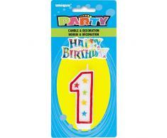 Unique Party - 37311 - Bougie à Paillettes dAnniversaire Numéro 1 et Décoration pour Gâteau - Happy Birthday