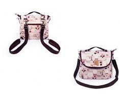 GRAND Sac à dos ,cartable ,sac bandoulière ÉTANCHE 3 en 1/Sac à dos /cartable/sac bandoulière Queen & Cat (Napperon et chat sur fond bleu)