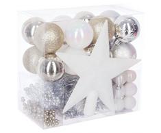 WEB2O Lot déco Noël - Kit 44 pièces pour décoration Sapin : Guirlandes, Boules et Cimier - Thème Couleur : Blanc, Or et Argent