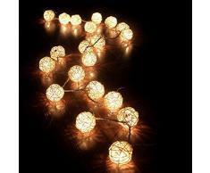 ionlyou Guirlande Lumineuse avec 20 LED Boule Rotin Sepak Takraw Lumières USB Powered Décoration Noël, Mariage, Party (blanc chaud)