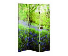 Haku Möbel 30940 Paravent Bois Massif Sapin/Toile Vert/Multicolore 3 x 120 x 180 cm
