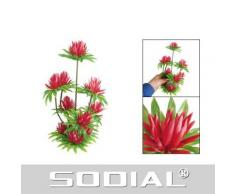 """SODIAL(R) """"Lotus"""" """"Nenuphar rouge"""" Herbe/plante aquatique artificielle en plastique DšŠcoration pour aquarium 10"""""""