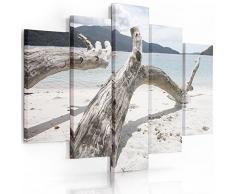 Feeby Frames, Tableau Multi Panneau 5 Parties, Tableau imprimé XXL, Tableau imprimé sur Toile, Tableau Deco, Pentaptyque (Plage, Blanc Bleu) 150x100 cm, Type A