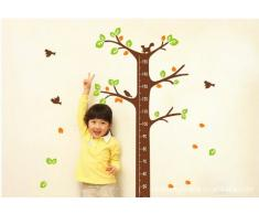 ufengke® Petit Arbre de Création Toise Sticker Mural(0-170cm), de Mignons Écureuils et Les Oiseaux, la Chambre des Enfants Pépinière Autocollants Amovibles