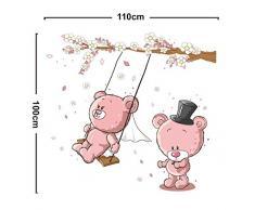 ufengke® Rose Mignon Porte Arbre Fleur Stickers Muraux, La Chambre des Enfants Pépinière Autocollants Amovibles