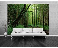 Forêts Papier Peint Photo/Poster - Une Rivière Tranquille Coule Au Milieu, 2 Parties (240 x 180 cm)