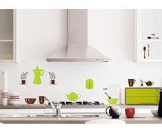 ufengke® Vaisselle de Cuisine Personnalisé Stickers Muraux, Théière Tasses Bols et Thermos Salle de Séjour Chambre à Coucher Salle à Manger Autocollants Amovibles