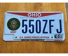 Plaque d'immatriculation de l'armée américaine MNUT Ohio de l'armée américaine 15,2 x 30,5 cm