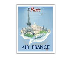 Paris - Air France - Tour Eiffel - Affiche ancienne vintage Companie aérienne Poster aviation de Régis Manset c.1952 - Beaux-Arts Imprime Fine Art Print - 28cm x 36cm